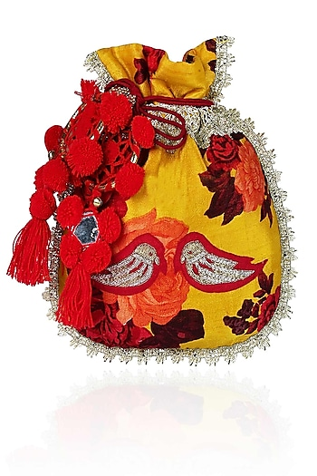 Mustard Yellow, Red And Orange Floral And Bird Embroidered Polti Bag by Amrita Thakur