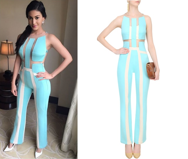 Aqua Blue And Ivory Network Panelled Jumpsuit by Shivani Awasty