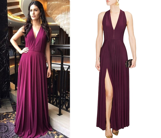 Wine Pleated Bodice Bias Gown by Bhaavya Bhatnagar