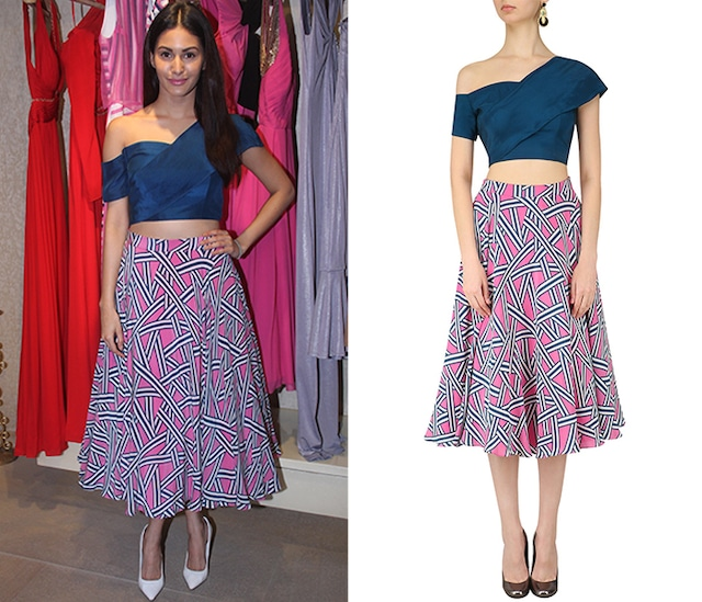 Diver Blue Off Shoulder Crop Top by Ritika Bharwani