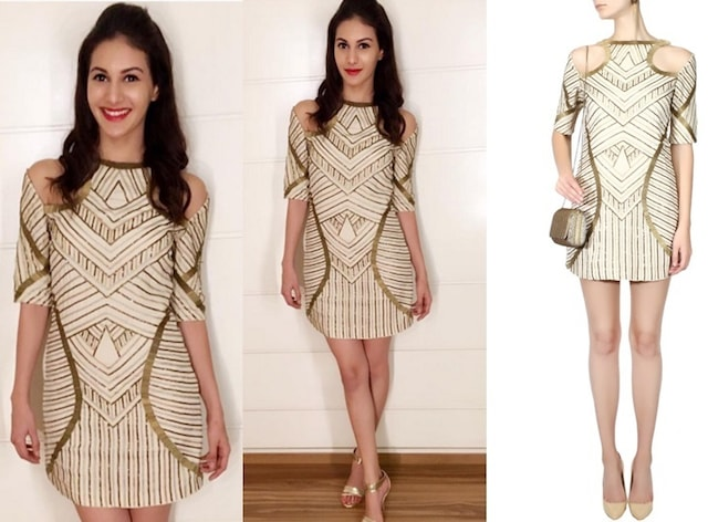 Creme and Gold Embellished Cut Out Shoulder Dress by Samatvam By Anjali Bhaskar