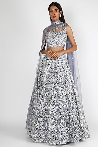 Grey Motif Embroidered Lehenga Set by Aneesh Agarwaal