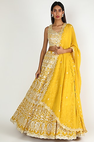 Yellow Mirror & Gota Patti Embroidered Lehenga Set by Aneesh Agarwaal