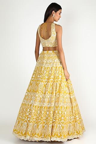 Yellow Mirror & Gota Patti Embroidered Lehenga Set by Aneesh Agarwaal