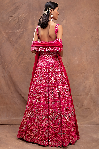 Magenta Embroidered Lehenga Set by Aneesh Agarwaal