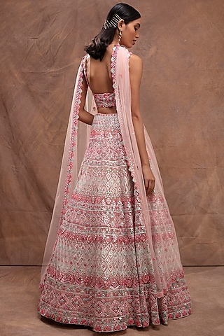 Blush Pink Embroidered Lehenga Set by Aneesh Agarwaal