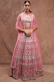 Coral Embroidered Lehenga Set by Aneesh Agarwaal