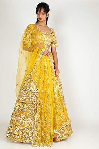 Yellow Embroidered Lehenga Set by Aneesh Agarwaal