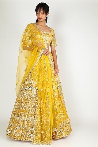 Yellow Embroidered Lehenga Set by Aneesh Agarwaal