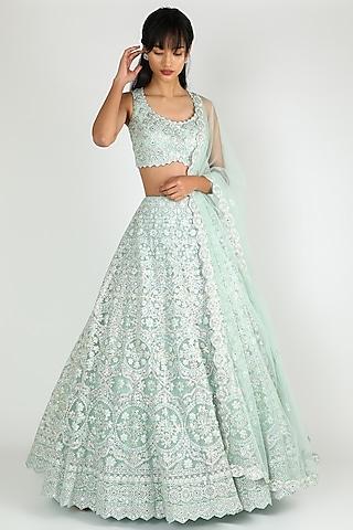 Turquoise Embroidered Lehenga Set by Aneesh Agarwaal