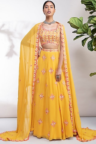 Yellow Thread Embroidered Lehenga Set by Aneesh Agarwaal