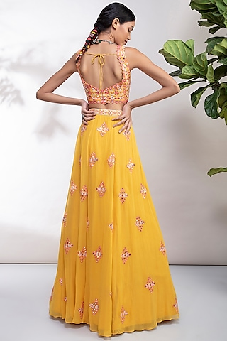 Yellow Thread Embroidered Lehenga Set by Aneesh Agarwaal