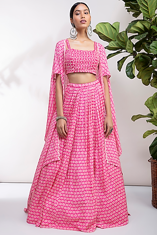 Fuchsia Embroidered Lehenga Set by Aneesh Agarwaal