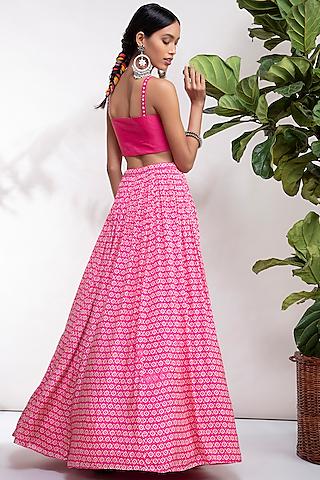 Fuchsia Embroidered Lehenga Set by Aneesh Agarwaal