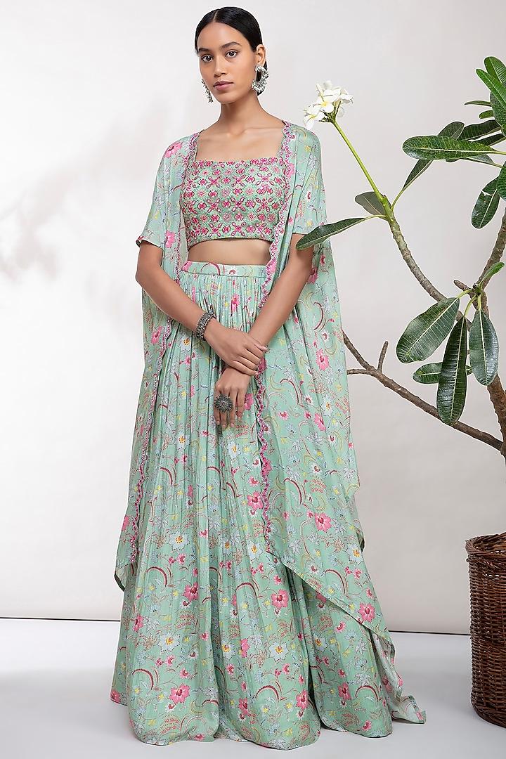 Mint Green Thread Embroidered Lehenga Set by Aneesh Agarwaal