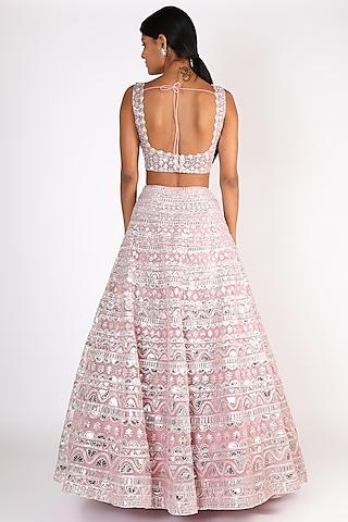 Blush Pink Mirror Embroidered Lehenga Set by Aneesh Agarwaal