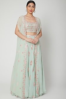 Mint Green Embroidered Cape Lehenga Set by Aneesh Agarwaal