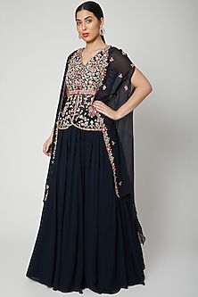 Cobalt Blue Embroidered Cape With Lehenga by Aneesh Agarwaal