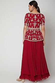 Red Embroidered Peplum Top With Sharara Pants by Aneesh Agarwaal
