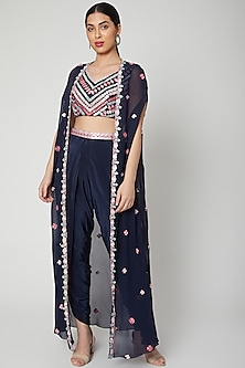 Cobalt Blue Embroidered Dhoti Set by Aneesh Agarwaal