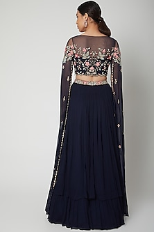 Cobalt Blue Embroidered Blouse With Lehenga by Aneesh Agarwaal