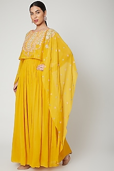 Mustard Embroidered Cape Kurta by Aneesh Agarwaal