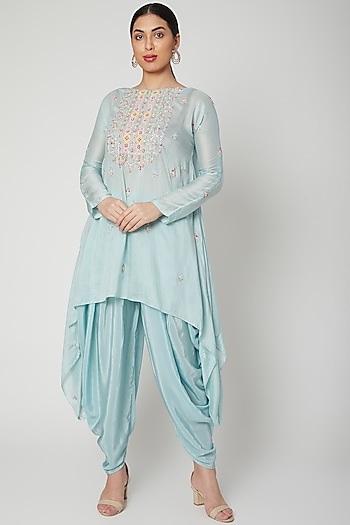 Turquoise Embroidered Dhoti Set by Aneesh Agarwaal