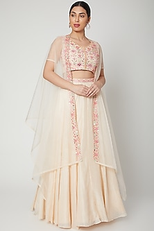 White Embroidered Cape Lehenga Set by Aneesh Agarwaal