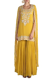 Lime Yellow Embroidered Cape Kurta With Gharara by Aneesh Agarwaal