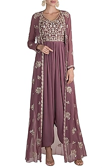 Brown Cowl Jumpsuit With Embroidered Jacket by Aneesh Agarwaal