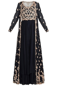 Navy Blue Embroidered Anarkali Gown With Jacket by Aneesh Agarwaal
