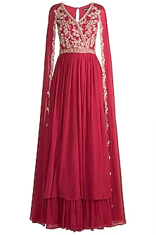 Red Embroidered Anarkali Gown With Cape Sleeves by Aneesh Agarwaal