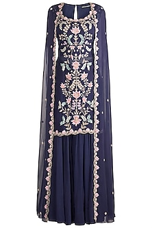 Purple Embroidered Cape Kurta With Gharara by Aneesh Agarwaal