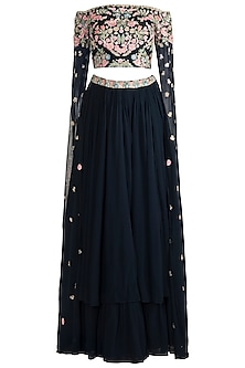 Navy Blue Embroidered Lehenga Set by Aneesh Agarwaal