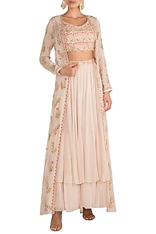 Ivory Embroidered Jacket Lehenga Set by Aneesh Agarwaal