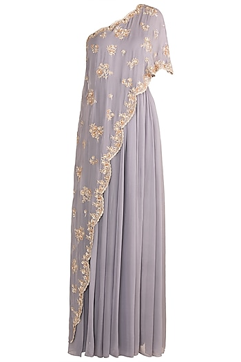 Grey Embroidered One Shoulder Anarkali Gown by Aneesh Agarwaal