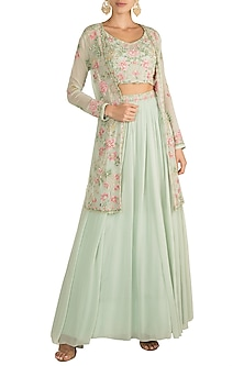 Mint Green & Pink Jacket Lehenga Set by Aneesh Agarwaal