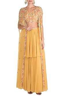Yellow Embroidered Jacket Lehenga Set by Aneesh Agarwaal