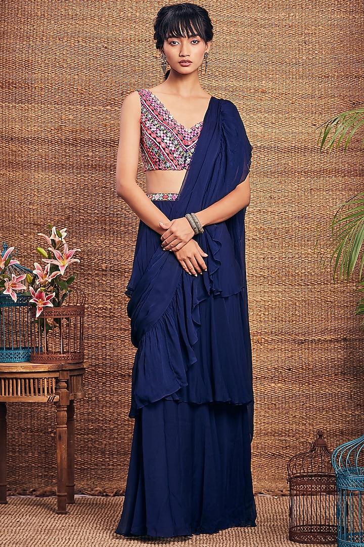 Navy Blue Ruffled Saree Set by Aneesh Agarwaal