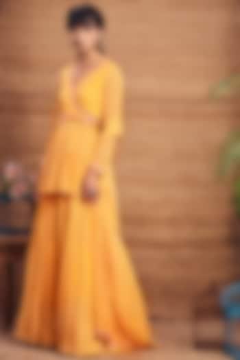 Yellow Georgette Skirt Set by Aneesh Agarwaal