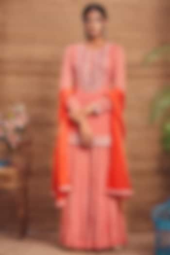 Orange Georgette Gharara Set by Aneesh Agarwaal