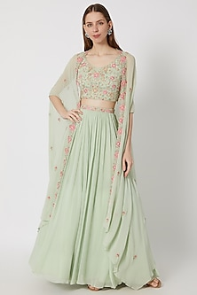 Mint Green Embroidered Cape Lehenga Set With Belt by Aneesh Agarwaal