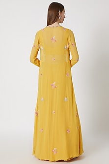 Yellow Embroidered Jacket Lehenga Set WIth Belt by Aneesh Agarwaal