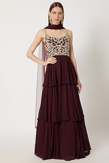 Maroon Embroidered Anarkali Gown With Dupatta by Aneesh Agarwaal
