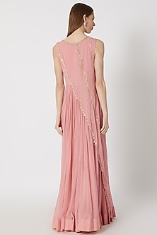 Rose Pink Embroidered Layered Gown by Aneesh Agarwaal