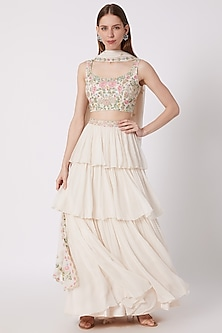 Ivory Embroidered Lehenga Set by Aneesh Agarwaal