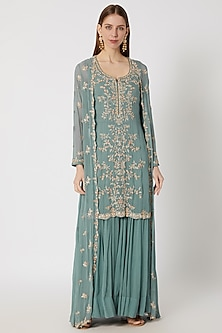 Green Embroidered Sharara Set With Jacket by Aneesh Agarwaal