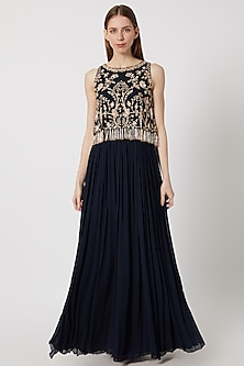 Navy Blue Georgette Cape Gown by Aneesh Agarwaal
