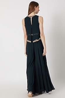 Navy Blue Embroidered Jumpsuit With Attached Jacket by Aneesh Agarwaal