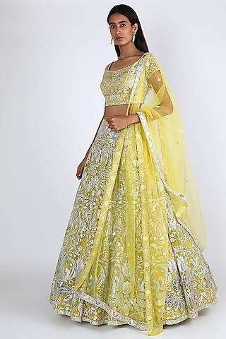 Lime Green Embroidered Lehenga Set by Aneesh Agarwaal